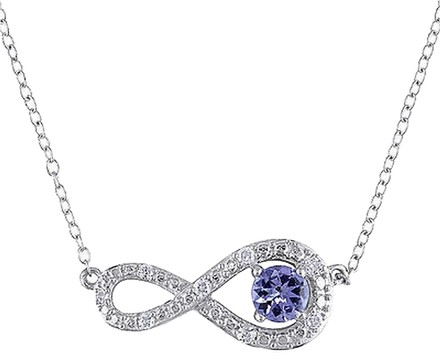 Other Sterling Silver 110 Ct Diamond And Tanzanite Swivel Infinity Necklace 17