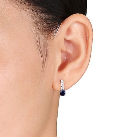 Other 10k White Gold Diamond And 1 13 Ct White Blue Sapphire Ear Pin Earrings