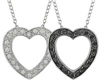 Sterling Silver 14 Ct Black And White Diamond Heart Love Pendant Necklace Gh I3
