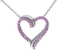 Sterling Silver 58 Ct Created Pink Sapphire Heart Love Pendant Necklace