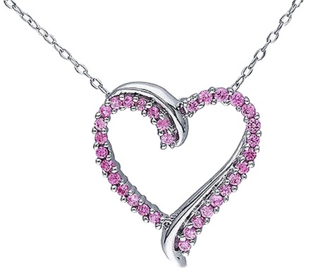 Other Sterling Silver 58 Ct Created Pink Sapphire Heart Love Pendant Necklace