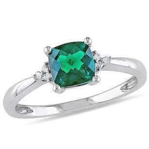 10k White Gold 1 Ct Tgw Emerald And Diamond Ring .024 Ct Cttw G-h I2-i3