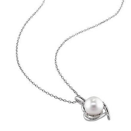 Other Sterling Silver Diamond 8 - 9 Mm Freshwater Pearl Heart Love Pendant Necklace