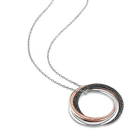 Other Two-tone Sterling Silver 14 Ct Black Diamond Circle 3 Tone Pendant Necklace
