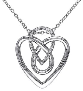 Other Sterling Silver 110 Ct Diamond Tw Heart Love Pendant Necklace Gh I2i3