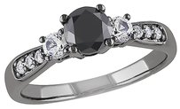 Sterling Silver 34 Ct Black Diamond Tw And 25 Ct White Sapphire Fashion Ring