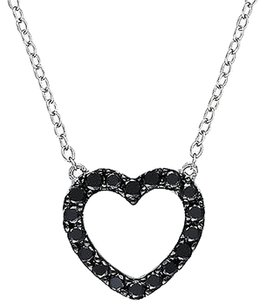 Sterling Silver 12 Ct Black Diamond Tw Heart Love Pendant Necklace