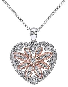Other Sterling Silver 110 Ct Diamond Heart Flower Nature Pendant Necklace Gh I2i3
