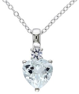 Sterling Silver 1 78 Ct Aquamarine White Sapphire Heart Love Pendant Necklace
