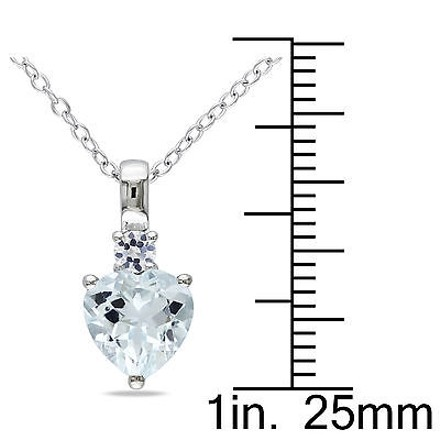 Other Sterling Silver 1 78 Ct Aquamarine White Sapphire Heart Love Pendant Necklace