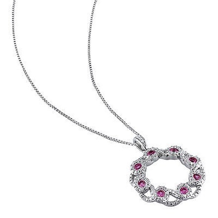 Other Sterling Silver Diamond And Pink Sapphire Crossover Swivel Pendant Necklace