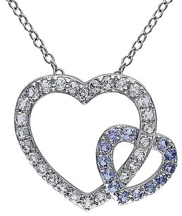Other Sterling Silver Diamond And 1 Ct Tanzanite White Topaz Heart Pendant Necklace