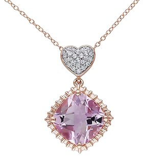 Other Pink Sterling Silver 7 58 Ct White Topaz Rose De France Heart Pendant Necklace
