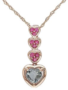 Other 14k Pink Gold 1 45 Ct Green And Pink Sapphire Stacked Heart Pendant Necklace