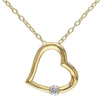 Other Yellow Sterling Silver Diamond Heart Love Pendant Necklace Gh I2i3