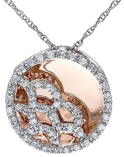 Other 10km Pink White Gold 13ct Diamond Pendant W 17chain G-h I2-i3