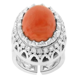Other 27.75ct Coral 18k White Gold And Diamond Cocktail Ring