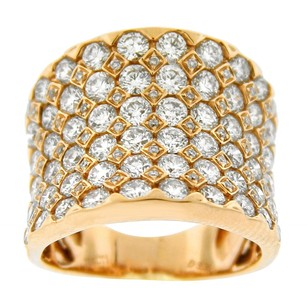 3.39ct Diamond 18k Yellow Gold Wide Band Ring