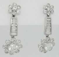 Other 3.40tcw Diamond 18k White Gold Dangle Drop Earrings E44