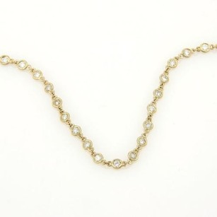 3.70ct Diamond By The Yard Eternity Necklace In 14k Yellow Gold 24l