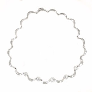 3.75ct Floral Round Stones Diamond Necklace G Si1 In 18k White Gold