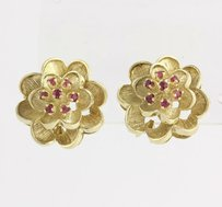3d Ruby Flower Earrings .70ctw - 14k Yellow Gold Genuine Floral Omega Backs