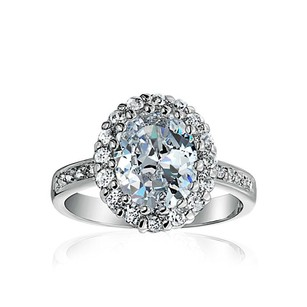 4 Ct Oval CZ Halo Pave Band Rhodium Sterling