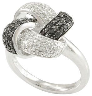 Other 40 Genuine Black & White Diamonds in Solid .925 Sterling Silver Ring