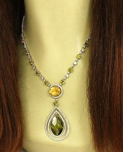 4ct Diamonds Multi-color Gems 18k White Gold Lariat Necklace