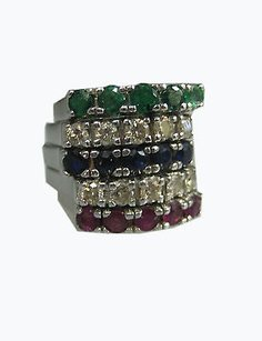 5 14k White Gold Ladies Set Diamond Sapphire Ruby Emerald Rings