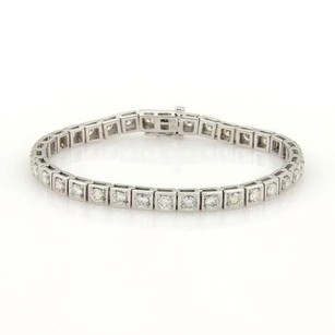 Other 5.00ct Round Cut Diamonds 14k White Gold Box Link Tennis Bracelet
