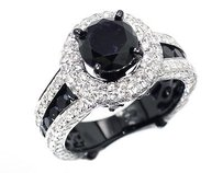 5.70ct 10k Gold Pvd Black And White Diamond Solitaire Engagement Fashion Ring