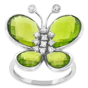 Other 9.00ct Peridot Quartz 14k White Gold And Diamond Butterfly Ring 5-8