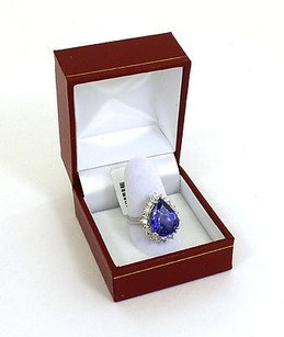 9.02ct Diamond Tanzanite Pear Shape 18k White Gold Cocktail Ring