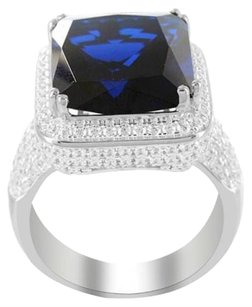 .925 Silver Lab Diamond Radiant Cut Blue Sapphire Solitaire Rick Ross Mens Ring