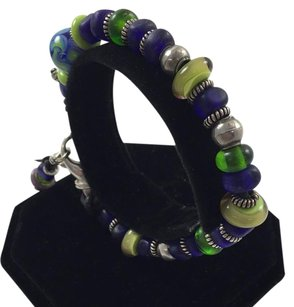 .925 Sterling Silver And Leather Multi Color Beaded Bracelet 8