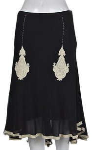 Other Maxstudiocom Womens Black A Line Below Knee Silk Embroidered Skirt Multi-Color