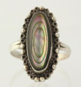 Abalone Ring Sterling Silver 925 Oval Colorful Shell Solitaire Womens