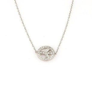 Adorable Pave Diamond Peace Sign 14k White Gold Necklace