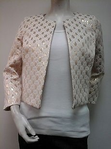 Amanda Uprichard 34 Sleeve Metallic Gold Beige Blazer Made In Usa