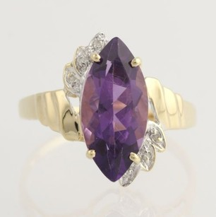 Amethyst Diamond Cocktail Ring - 14k Yellow Gold Genuine 2.78ctw