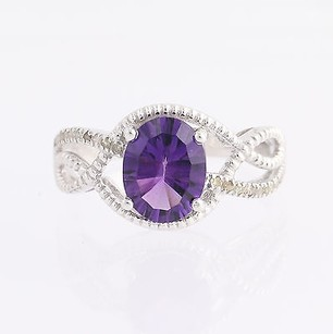 Amethyst Diamond Ring - 10k White Gold February Birthstone 1.83ctw