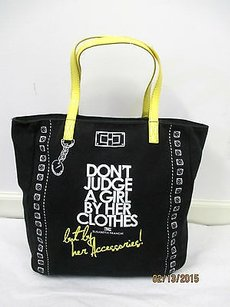 Elisabetta Franchi Black Tote in Black, white and yellow
