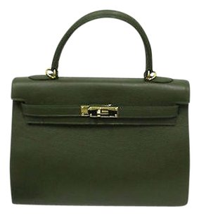 Other Dark Pebbled W Gold Padlock Removable Strap Tote in Green