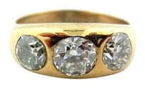 Antique Old European Diamond 18k Yellow Gold 3-three Stone Jewelry Ring 1.5ct