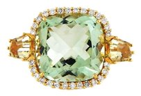 Antique Vintage 18k Gold Green Amethyst with Diamonds Ring