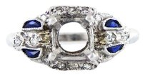 Other Antique Vintage Semi-mount Platinum Kashmir Sapphires Diamond Ring