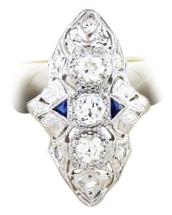Other Vintage/Antique Platinum Sapphire Old Miners Cut Diamond Ring