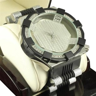 Aqua Master Black White Micro Pave Dial Lab Diamond Bezel Bullet Band Watch