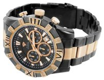 Aqua Master Mens Watch Stainless Steel Rose Black Tone Chronograph Date Dial